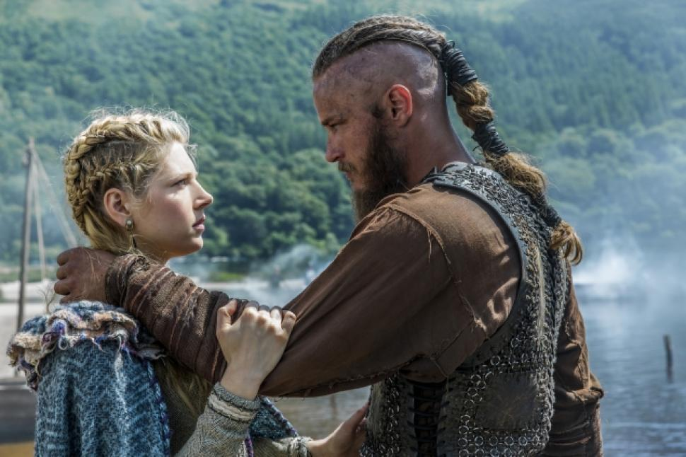 Ragnar and Lagertha on tv show Vikings
