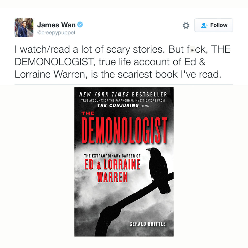 James Wan talk about the Demonologist book