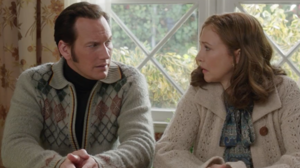 Patrick Wilson and Vera Farmiga as Ed Warren and Lorraine Warren
